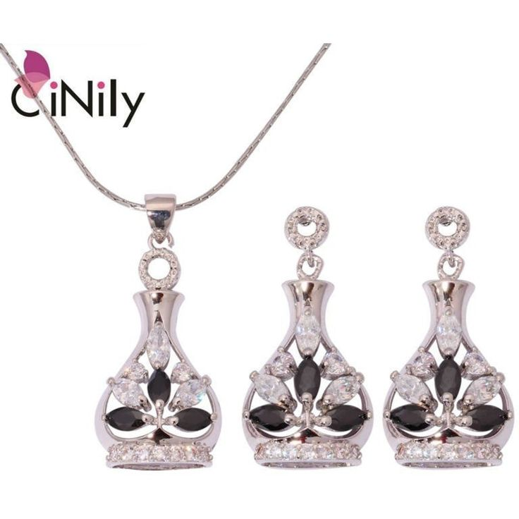 BLACK ONYX WHITE ZIRCON CUBIC ZIRCONIA SILVER PLATED WHOLESALE FOR WOMEN JEWELRY NECKLACE PENDANT EARRINGS JEWELRY SET NT185