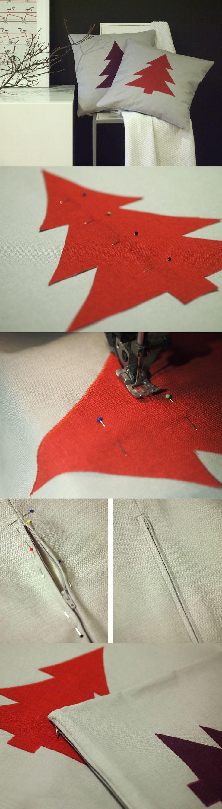 DIY Aplikoitu tyyny / Applique cushion // Leikkaa hauamasi kuvio kankaasta ja ompele se tiheällä siksakilla tyynynpäälliseen. Tällä ohjeella syntyvät kauniit päälliset mihin tahansa vuodenaikaan tai juhlaan. Vaihtele vain värejä ja kuvioita.
