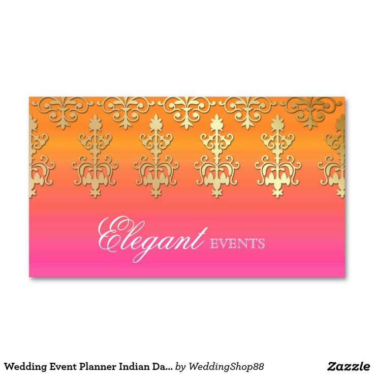 Wedding Event Planner Indian Damask Pink Orange Double-Sided Standard Business Cards (Pack Of 100)