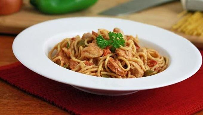 Slow cooker cajun chicken spaghetti is an easy way to prepare a hot, delicious meal.