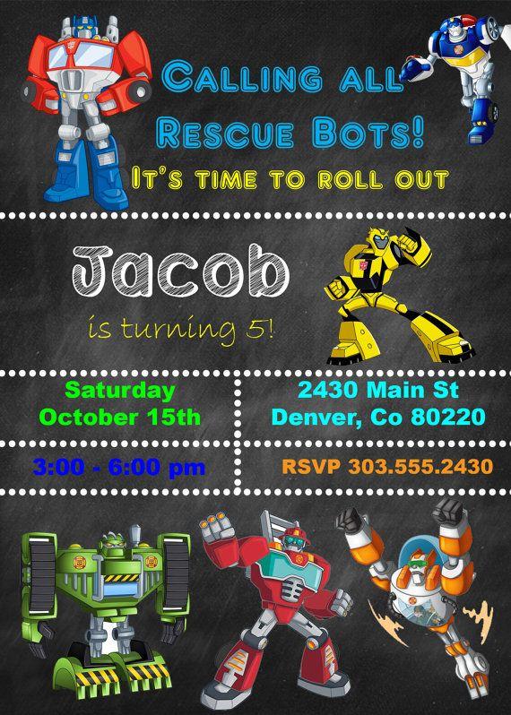Invitan a Rescue Bots cumpleaños sólo archivo DIGITAL