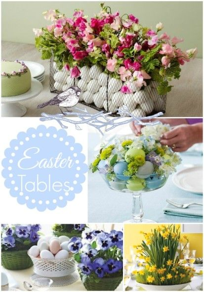 Easter Ideas-The Centerpiece Edition! Lots of ideas for your Spring/Easter Table! #springtable #eastertable