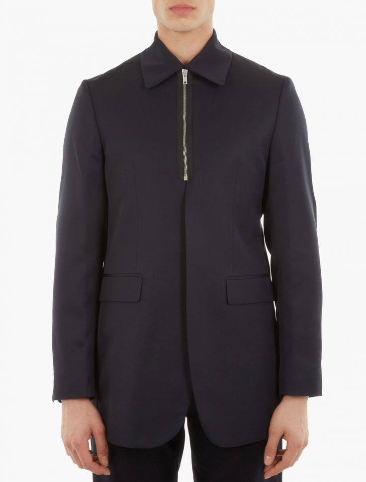 Raf Simons,Navy Zip-Up Blazer,NAVY,0