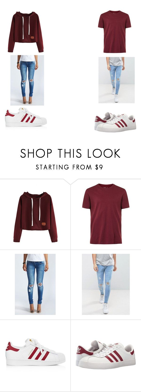 """MATCHING COUPLES OUTFITS!!!!!!!!!!!<3<3"" by nataliecenteno65 on Polyvore featuring Topman, Boohoo, Sik Silk and adidas"
