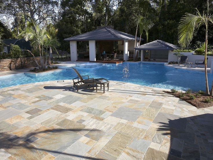 Eco Outdoor Cobb and Co split stone modular paving in pool surrounds, Rollingstone Landscapes | Eco Outdoor | Split Stone paving | livelifeoutdoors | Outdoor Design | Natural stone flooring | Garden design | Outdoor paving | Outdoor design inspiration | Outdoor style | Outdoor ideas | Luxury homes | Paving ideas | Garden ideas | Natural stone paving | Floor tiles | Outdoor tiles | Courtyard design | Pool ideas
