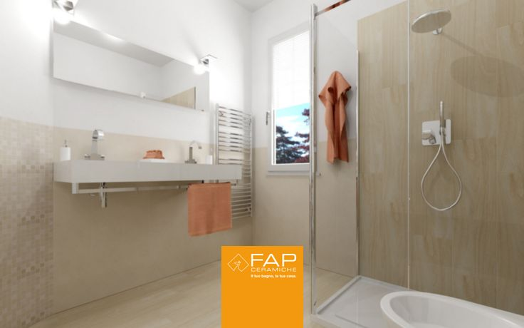 For this square-shaped #bathroom with small window, we choose light colors of collections Nuances and Base. #FAPstyle