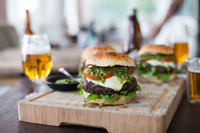 For this hunka hunka burning love, we've gone with ostrich, beef and marrow for the patties and the classic Caprese salad on top of the burger.
