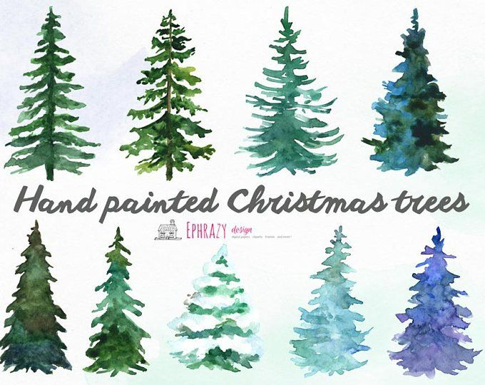 Christmas Trees 18 Watercolor Holiday Clipart Conifers Decorations Handpainted Floral Forest Invite Holly Merry Green Greetings In 2020 Christmas Tree Clipart Watercolor Christmas Cards Watercolor Christmas Tree