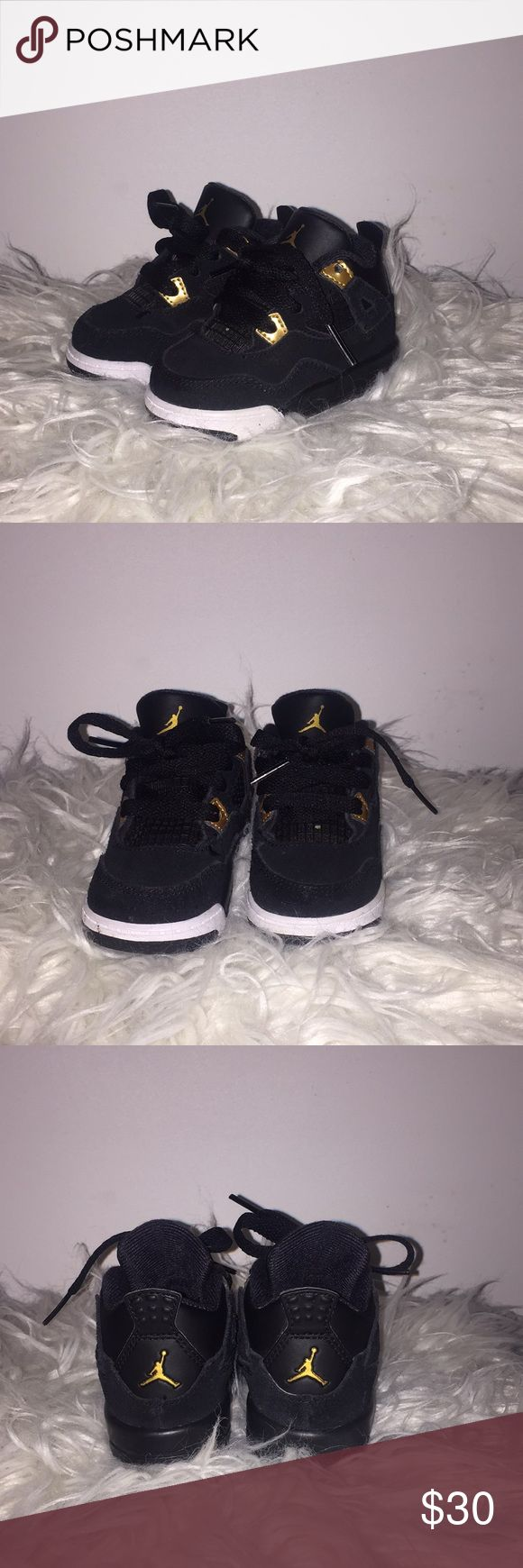 Toddler Jordan 4s Gently Used - Black/Metallic Gold- White -- still in very good condition - Size 4C Jordan Shoes Sneakers