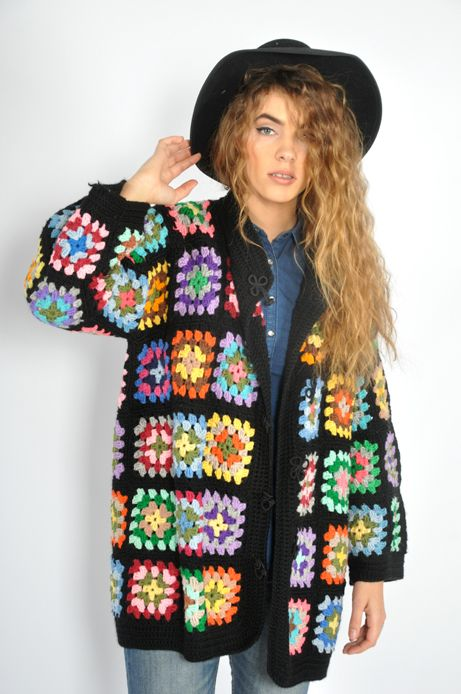 granny square jumper pictures | ... RAINBOW granny square cut out festival boho hippie KNIT jumper s/m