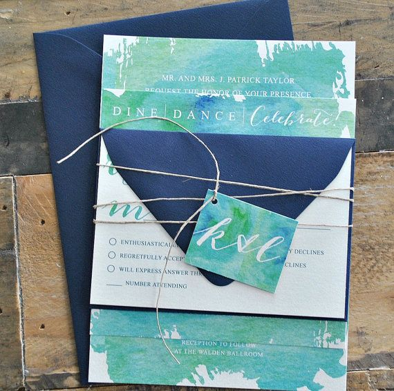 Beya Watercolor Wedding Invitation Suite with Twine Tie and Monogram Tag - Blue|Green watercolor, Navy Blue, WHITE INK (customizable)