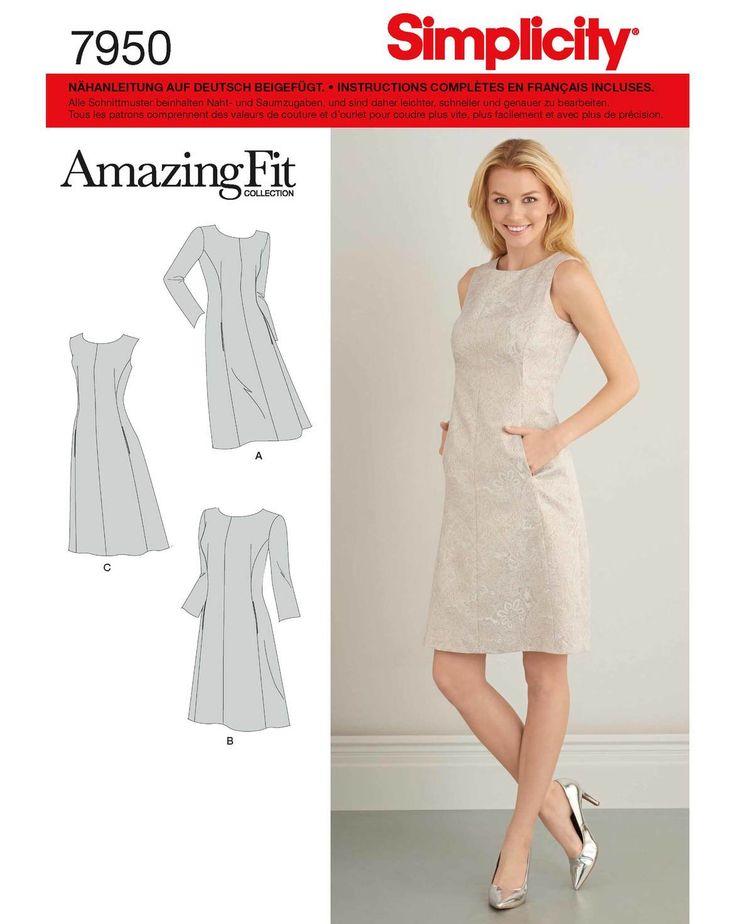 """Dieses """"AmazingFit"""" Schnittmuster von Simplicity enthält drei Etuikleider-Schnittmuster. Hier sind Tipps&Tricks sowie separate Schnittteile für die BH-Größen B-F enthalten, um das Kleid individuell anzupassen. Auch eine Schnittlinie für Kurzgrößen! Enthalten sind die US-Damen Größen 10-18, was etwa den Größen 36-44 entspricht."""