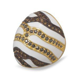 Large Dome Ring White with Stripes 14K Yellow Gold on Sterling Silver Black and Brown Crystal AzureBella Jewelry. $82.69. White enamel with black and brown crystal stripe accents. Available in whole sizes 6 to 9. Jewelry gift box included. 14k gold plate on .925 sterling silver