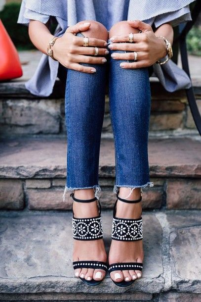 shoes sandals studded sandals black sandals cropped jeans frayed denim sandal heels