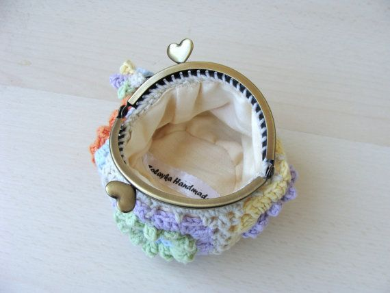 Bacio serratura moneta borsa all'uncinetto pastelli di zolayka