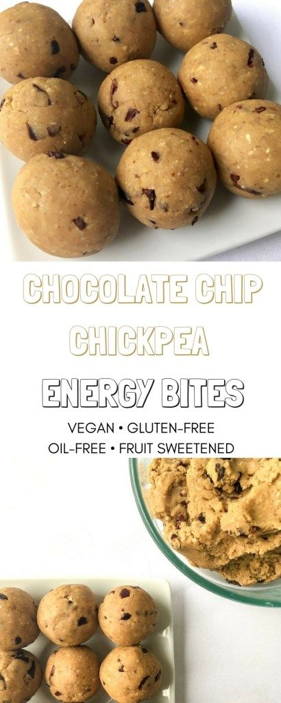 Vegan, gluten-free, naturally sweetened, oil-free and 5 ingredient no-bake energy bites like chocolate chip cookie dough and perfect for breakfast, snack, workout fuel or dessert.