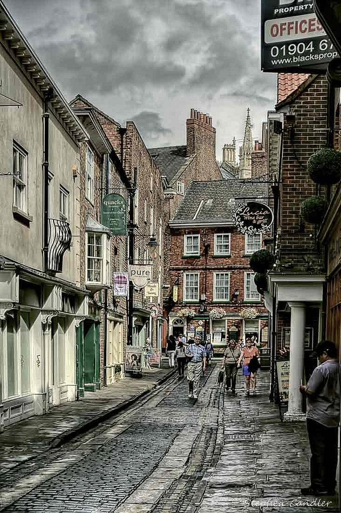 Looking along Grape Lane toward Low Petergate in York, North Yorkshire, England.