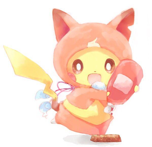 Pokemon x Yo-Kai Watch crossover   Pikachu dressed as Jibanyan and Pikachu is putting Ketchup on a Choco-bar