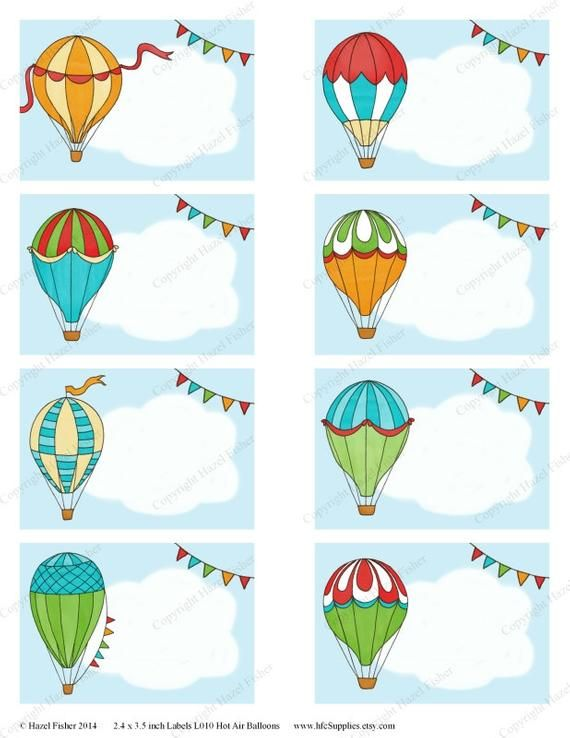 A Printable Sheet With 8 Hot Air Balloon Themed Labels
