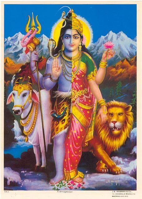 Ardhanarisvara es una deidad hinduista andrógina compuesta por el dios Shivá y su consorte Shakti, representando la síntesis de las energías masculinas y femeninas. La forma de Ardhanarisvara también ilustra cómo Shakti (el principio femenino de Dios) es inseparable de Shivá (el principio masculino de Dios).