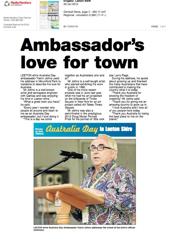 Australia day Ambassador Leeton