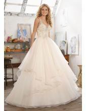 A-linie V-ausschnitt Traumhafte Brautkleider aus Organza mit Perlenstickerei
