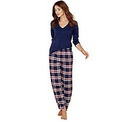 Lounge & Sleep - Tall blue check print cotton blend long sleeve pyjama set