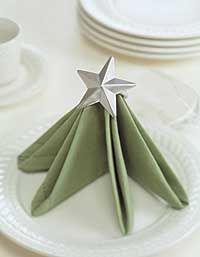 Napkin Folding - Star topped Tree Napkin. Great idea for Christmas dinner.