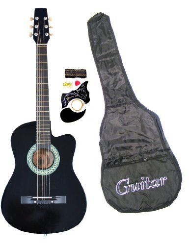 "38"" Inch Student Beginner Green Acoustic Cutaway Guitar with Carrying Case & Accessories & DirectlyCheap(TM) Translucent Blue Medium Guitar Pick by DirectlyCheap. Save 51 Off!. $33.95. Pitch Pipe. Tuner & Pickguard. Starter pack includes: Gig Bag, Extra Strings. Pick, Strap. The perfect way to start learning how to play leads is by picking up one of these acoustic cutaway guitar with starter pack. With the cutaway body, you'll learn how to use more of the fretboard and start playing chords…"