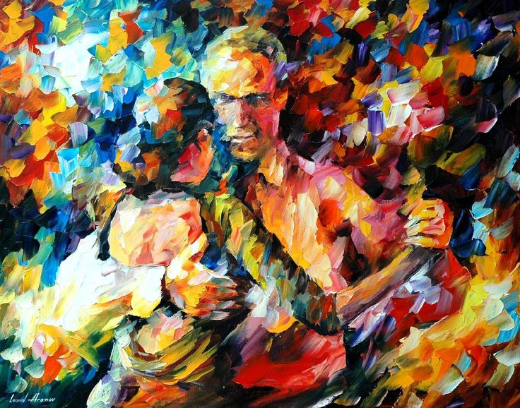 "TANGO OF LOVE — Palette knife Oil Painting  on Canvas by Leonid Afremov  - Size 24""x30"""