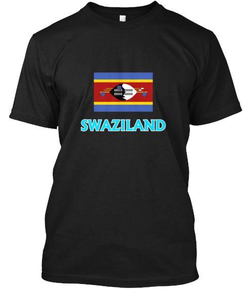 Swaziland Flag Classic Blue Design Black T-Shirt Front