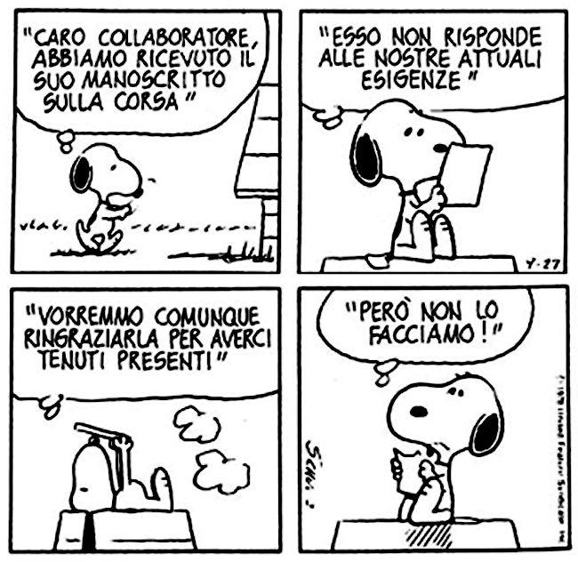 Le lezioni di Scrittura di Snoopy » Lettere di rifiuto / Vorremmo... #scrittura #snoopy
