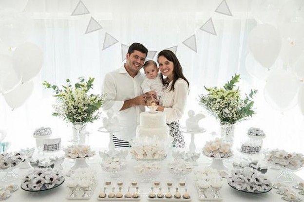 Dessert Table + Guest of Honor & Parents from an Elegant White Baptism Dessert Table via Kara's Party Ideas   KarasPartyIdeas.com (9)