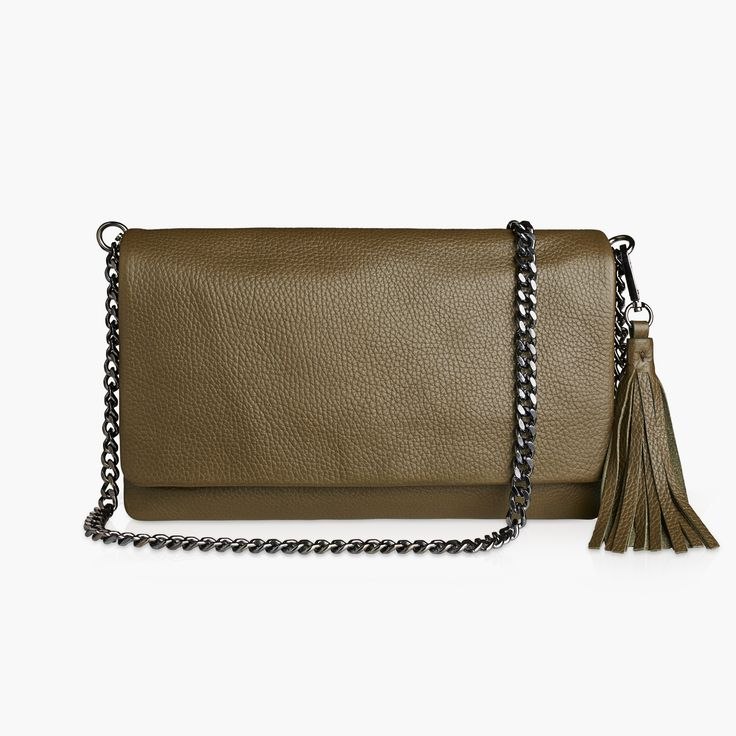 EMILY - OLIVE CALF with our Sophia chain and tassel.
