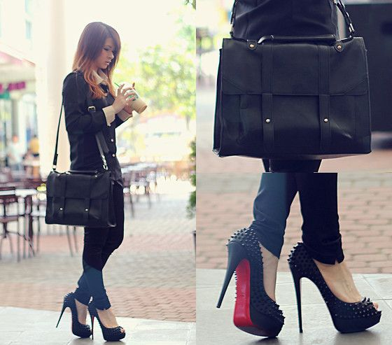 Slim Fit Shirt In Noir, Retro Bag, Christian Louboutin Lady Peep Spikes