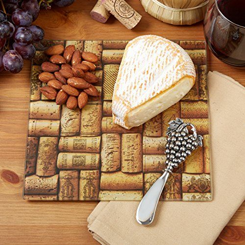 Cork Design Cheese Serving Set With Spreader-made Of Glass