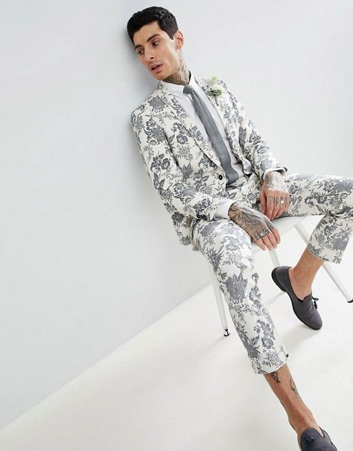 fb60154b0c48 Twisted Tailor | Twisted Tailor wedding super skinny suit jacket in cream  flocked linen