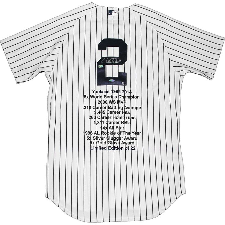 Derek Jeter Signed Authentic Yankees Pinstripe Jersey w Embroidered Stats (LE22)(MLB Auth) - Yankees legendary captain Derek Jeter has personally hand-signed this authentic Yankees pinstripe jersey with embroidered stats.Limited Edition of 22MLB Authentic100% Guaranteed AuthenticIncludes Steiner Sports Certificate of Authenticity Features Tamper-Evident Steiner HologramPerfect Collectors Item. Gifts > Licensed Gifts > Mlb > New York Yankees. Weight: 2.00