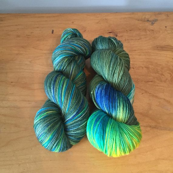 Hand-Dyed Forest Flower Sock Yarn by JuliannasFibre on Etsy