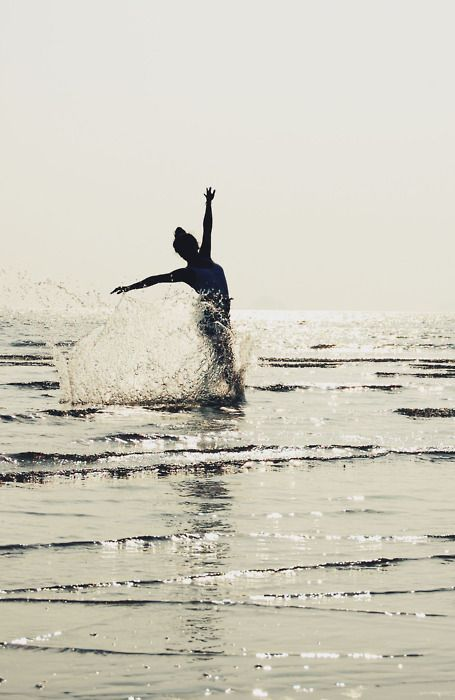 Running in the water. When I don't look for approval outside me, I remain as approval. + Byron Katie