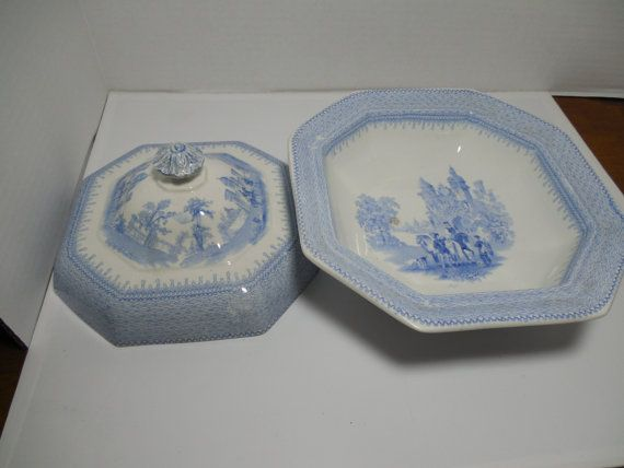 RARE Antique Covered Serving Dish TJ & J. by GingersLittleGems
