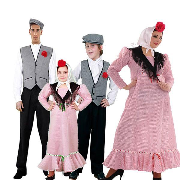 DisfracesMimo, disfraz de familia de chulapos madrileños.  Disfrutarás de la Verbena de la Paloma en familias o grupos tus Fiestas Temáticas, Carnavales o en Ferias Madrileñas.