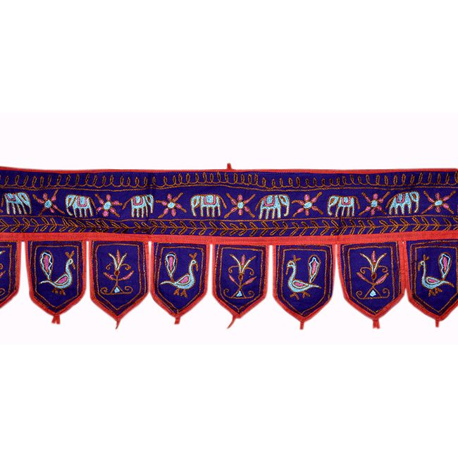 Size: 10 X 37 Inches * Color: Purple * Fabric: Cotton Intricate design gives a special ethnic touch to your home. An excellent show piece & also comfortable to use. Just Pretty up to your room with this beautiful Door Hanging. made with very beautiful & creative Elephant Design