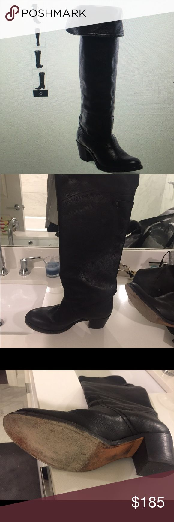Frye Over The Knee Boots Black Frye over the knee boot. Jane tall cuff size 8 great condition! Frye Shoes Heeled Boots