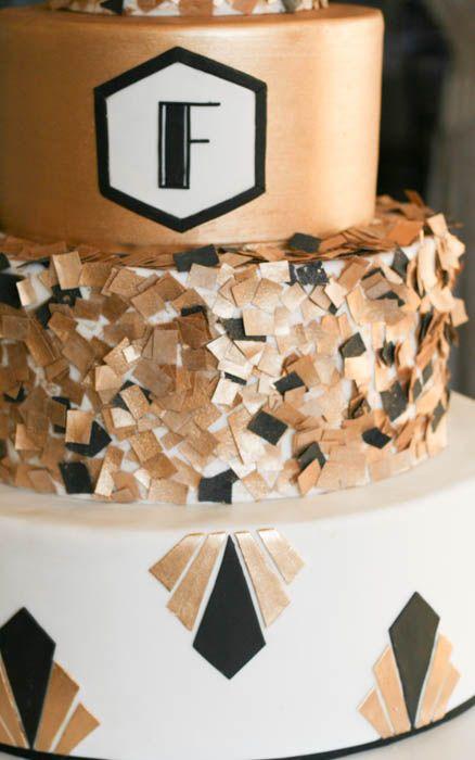 oro y negro del monograma del confeti arte torta ...