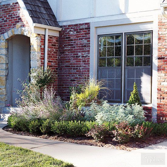 Love the variety and the fact that it will look good even in winter due to the dwarf pine, grasses and boxwood shrubs