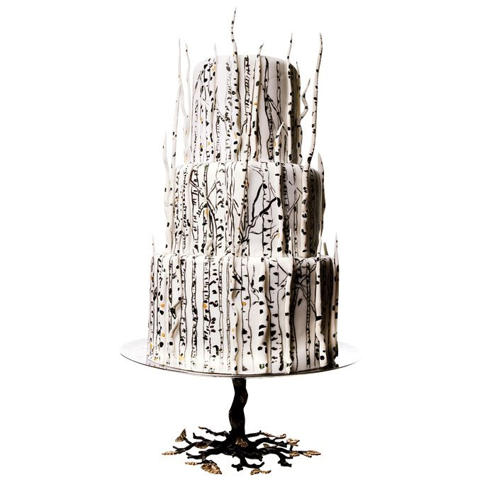 Brides.com: 34 Stunning Wedding Cakes for a Winter Wedding. A Fondant Wedding Cake With White Chocolate Branches. Fondant and white-chocolate branches on this striking Lulu Cake Boutique design feel woodsy and mysterious—perfect for a winter wedding in the Rockies.    See more rustic wedding cakes.