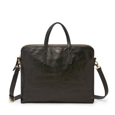 Ladies black leather work bag
