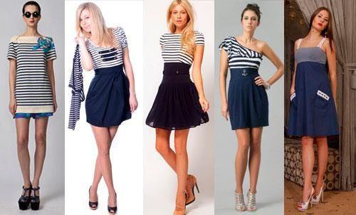 Коктельное платье в морском стиле