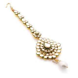 Featuring this Kundan and Pearl Maang Tikka  in our wide range of Hair Accessories. Grab yourself one. Now!